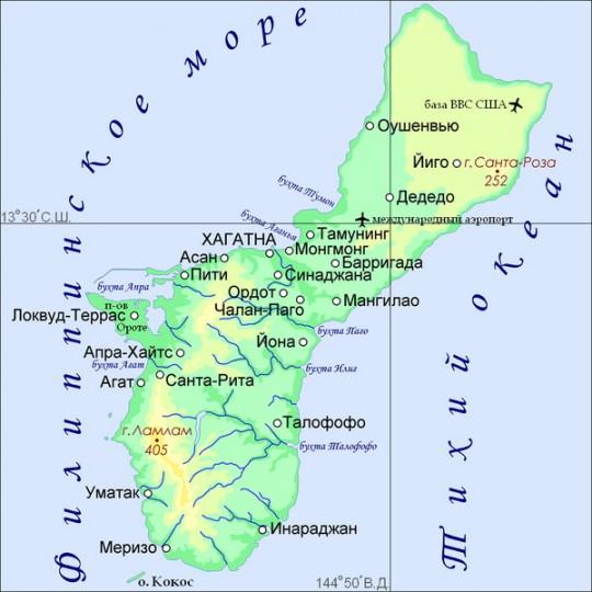 Карта Гуама