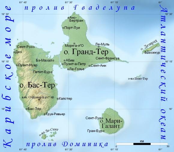 Карта Гваделупы