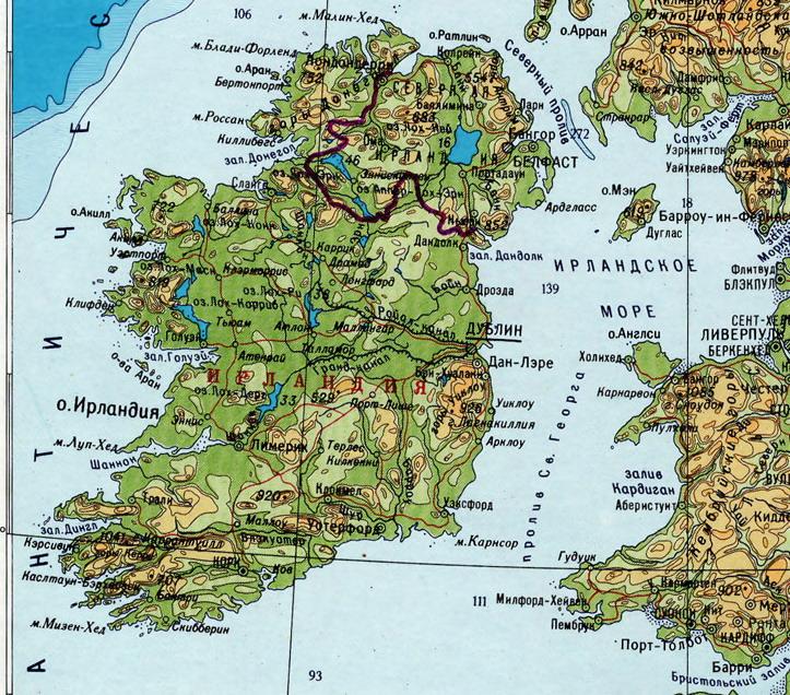 Где находится ирландия карте мира