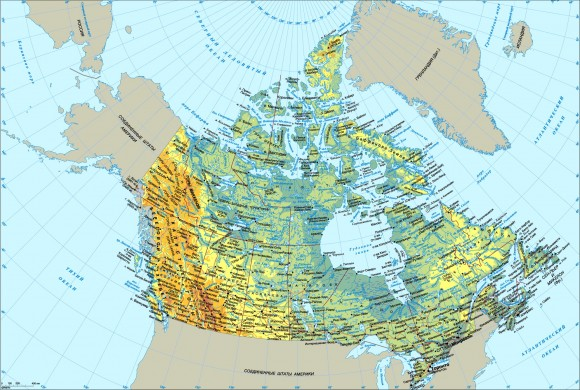Карта Канады с городами