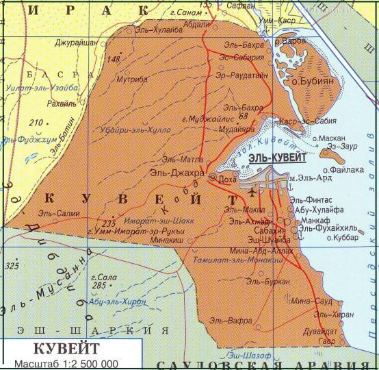 Карта Кувейта