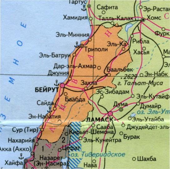 Карта Ливана