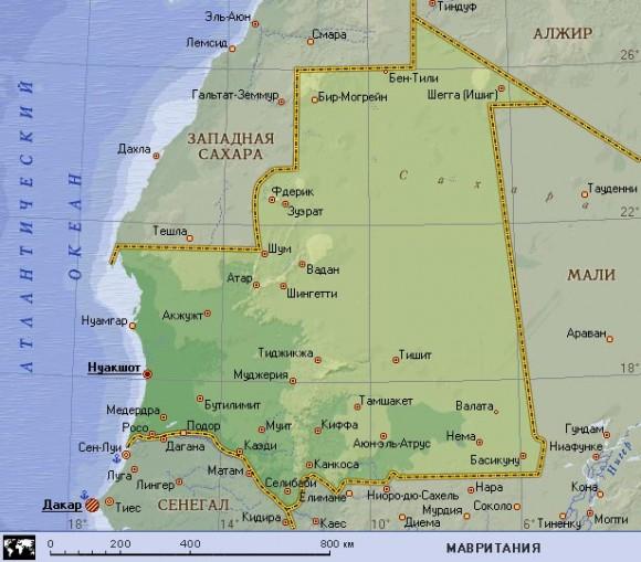 Карта Мавритании