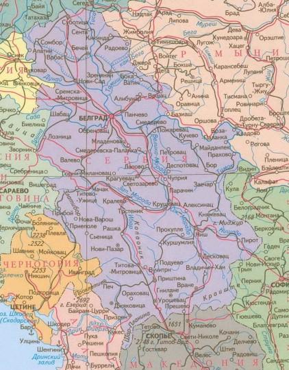 Карта Сербии на русском языке