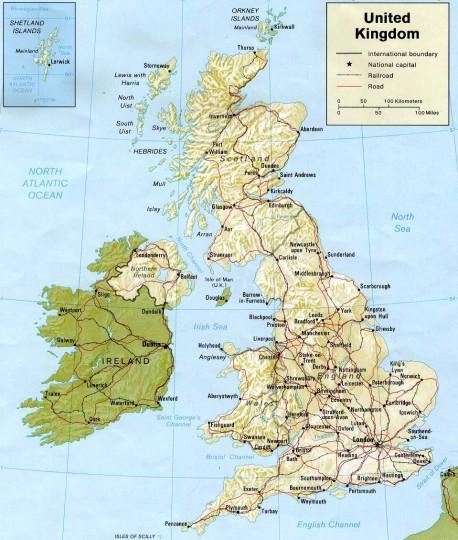 Карта великобритании на английском языке