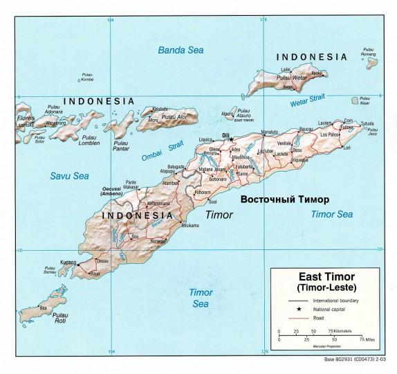 Карта Восточного Тимора