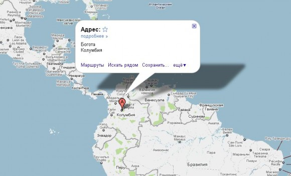 Колумбия на карте