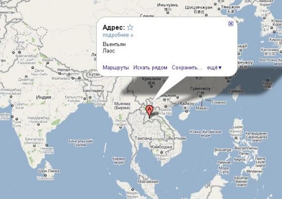 Лаос на карте мира
