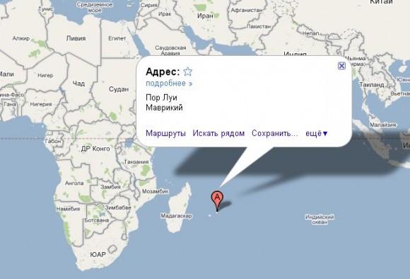 Маврикий на карте мира