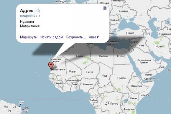 Мавритания на карте
