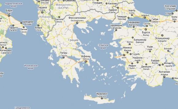 Острова Греции.карта