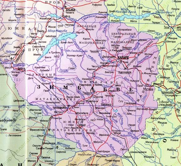 Зимбабве карта