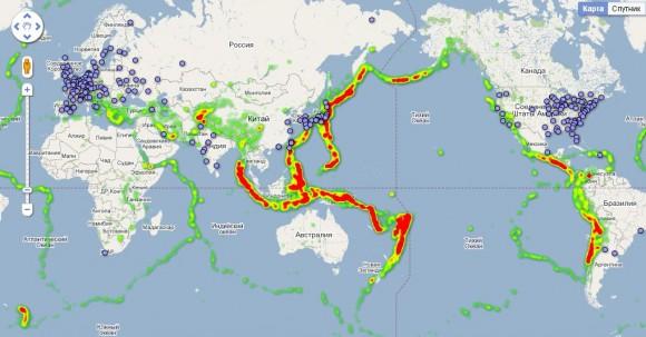 Атомные станции на карте