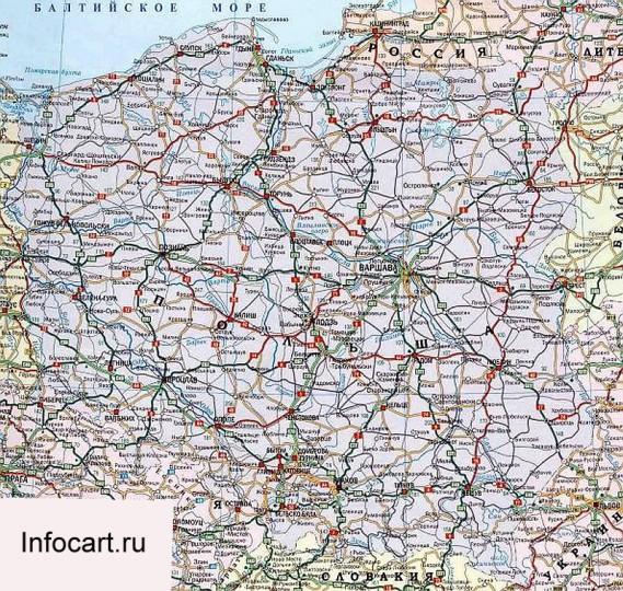 Автомобильная карта Польши