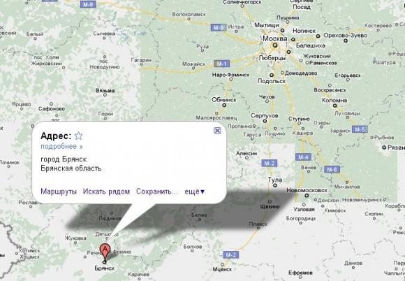 Брянск на карте России