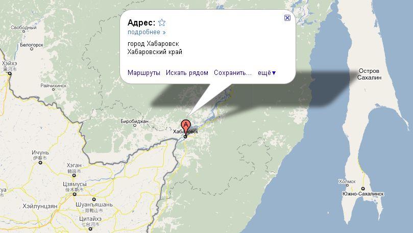 Хабаровск на карте России