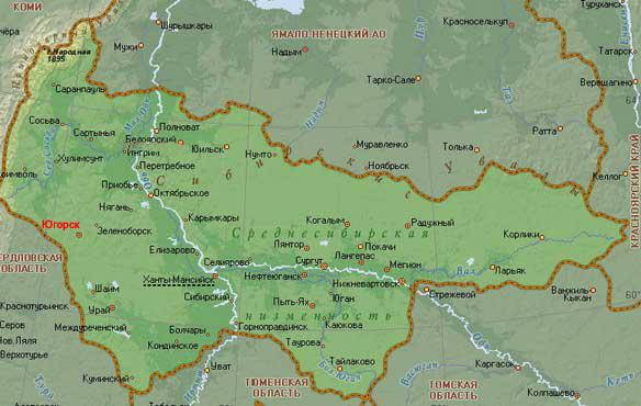 Югорск на карте России