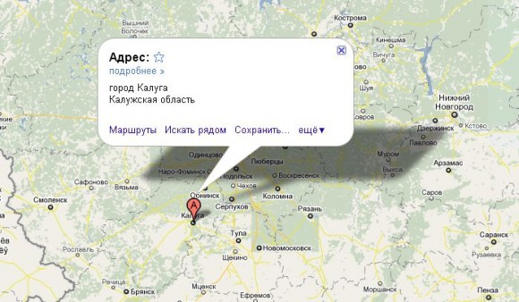 Калуга на карте России