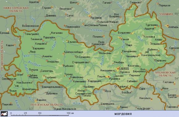 Карта Мордовии