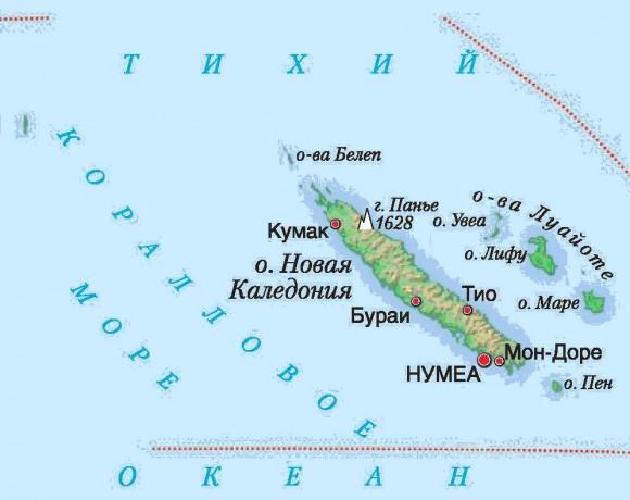 Карта Новой Каледонии