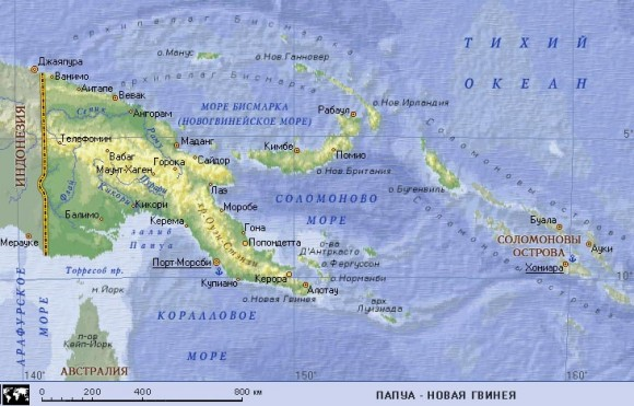 Карта Папуа Новой Гвинеи