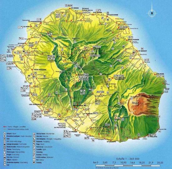 Карта Реюньон