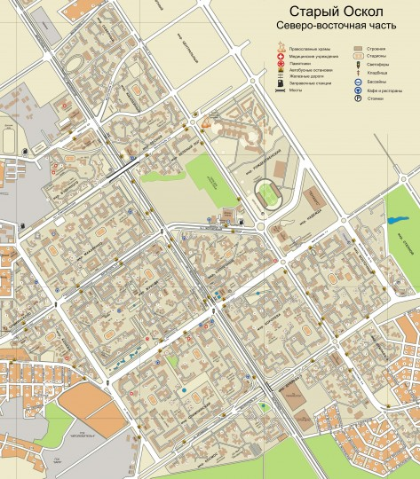 Карта Старого Оскола