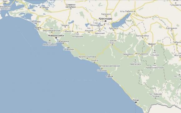 Карта черноморского побережья России