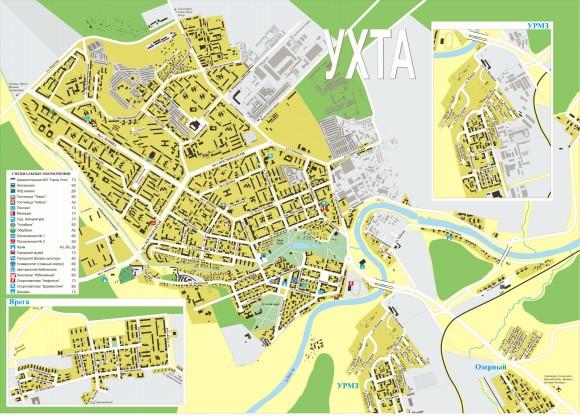 Карта Ухты