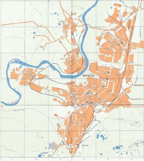 Карта Воркуты