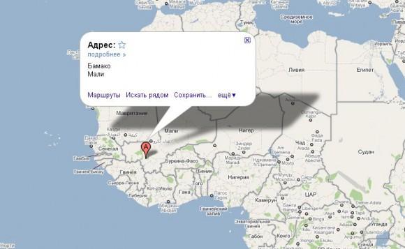 Мали на карте