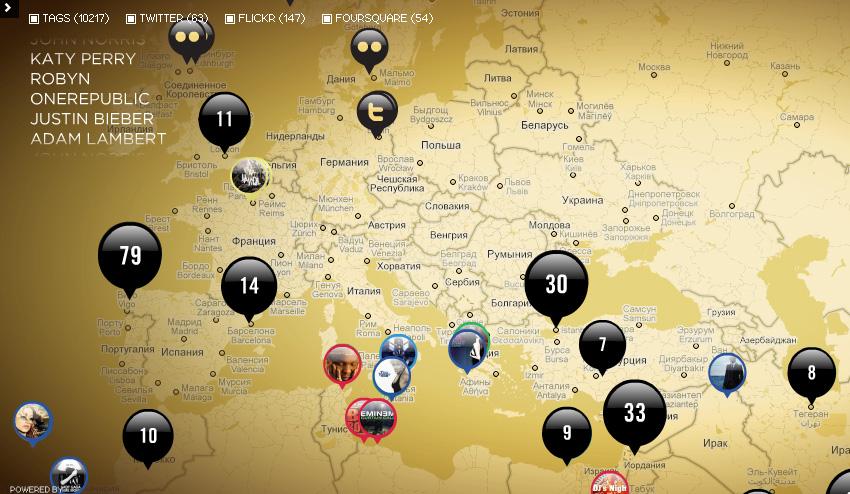 Певцы и музыканты на карте