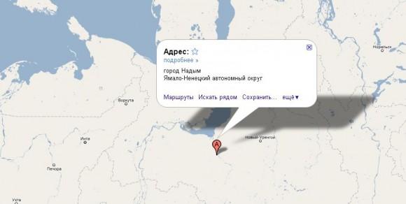 Надым на карте России