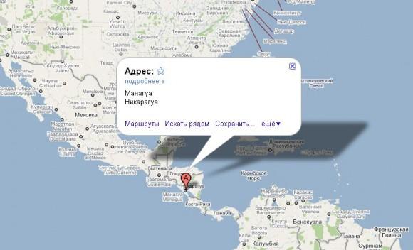 Никарагуа на карте мира
