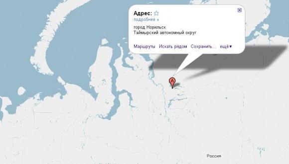 Норильск на карте России