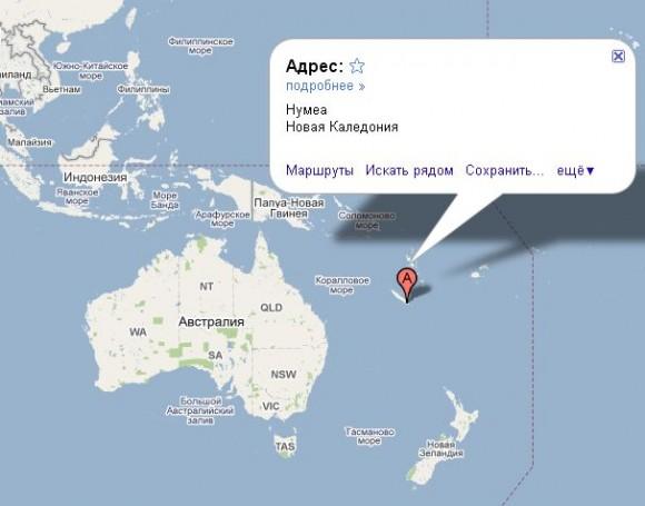 Новая Каледония на карте