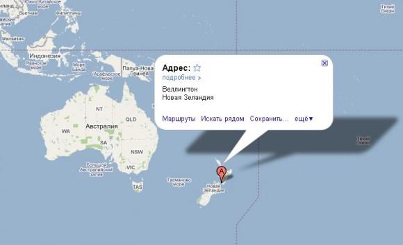 Новая Зеландия на карте мира