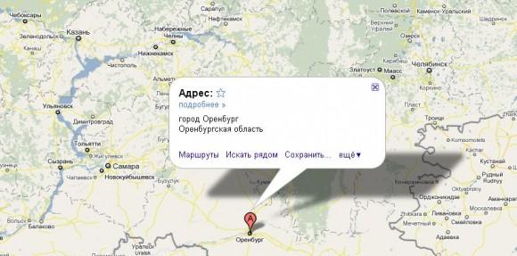 Оренбург на карте России