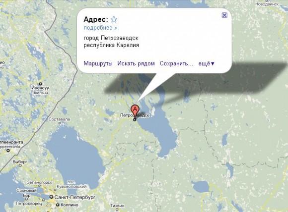 Петрозаводск на карте России