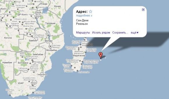 Реюньон на карте