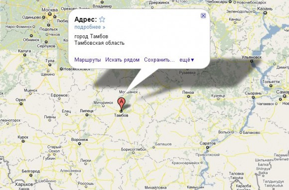 Тамбов на карте России