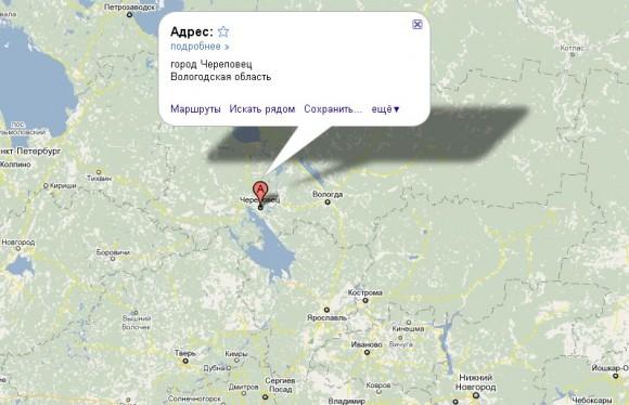 Череповец на карте России