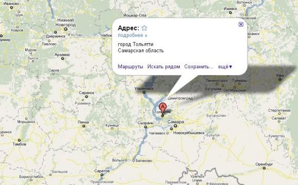 Тольятти на карте России
