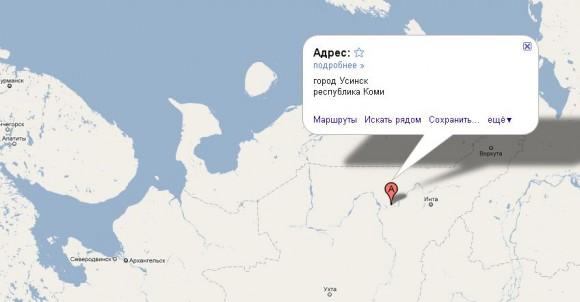 Усинск на карте России