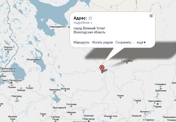 Великий Устюг на карте России