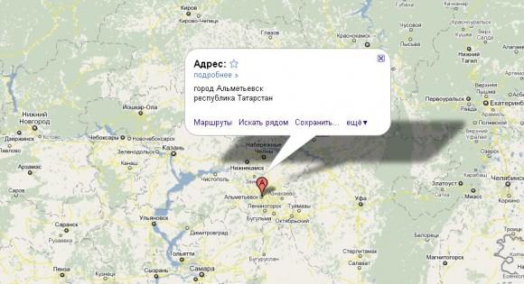 Альметьевск на карте России