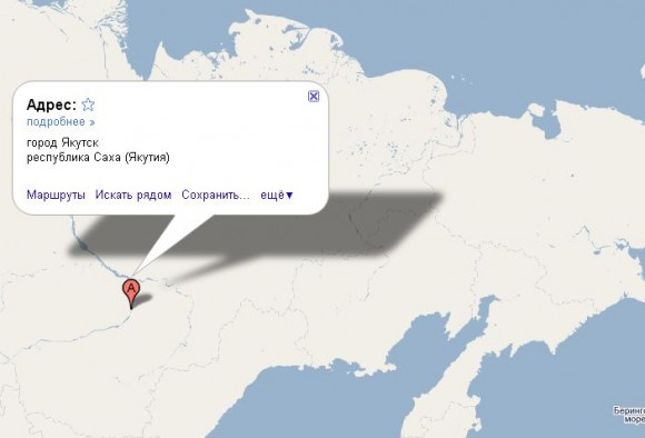 Якутск на карте России