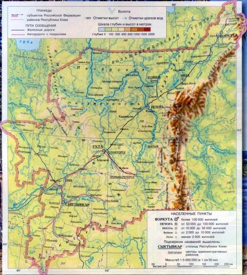 Карта Коми