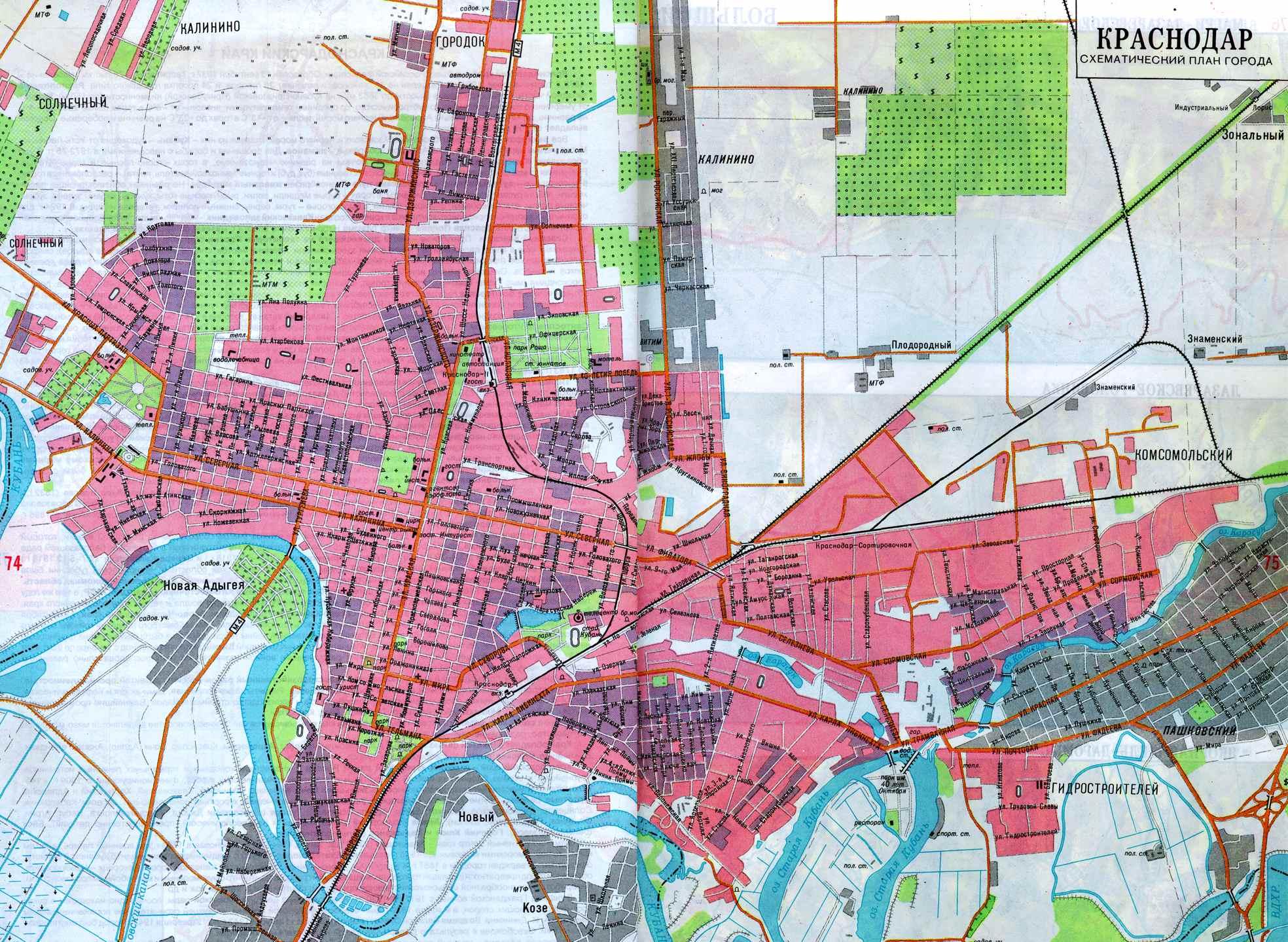 Районы Краснодара на карте, описание районов ...