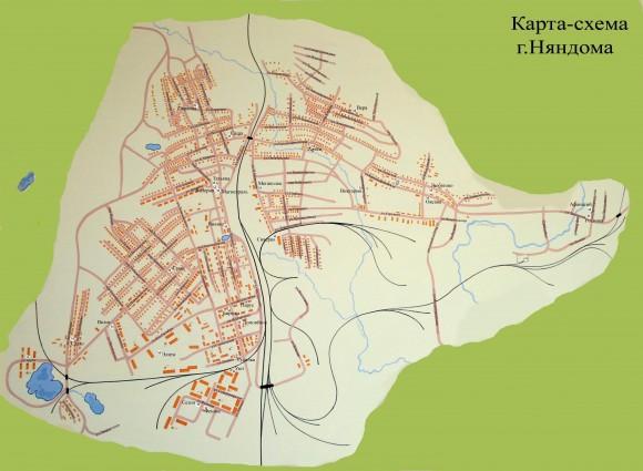Карта Няндомы